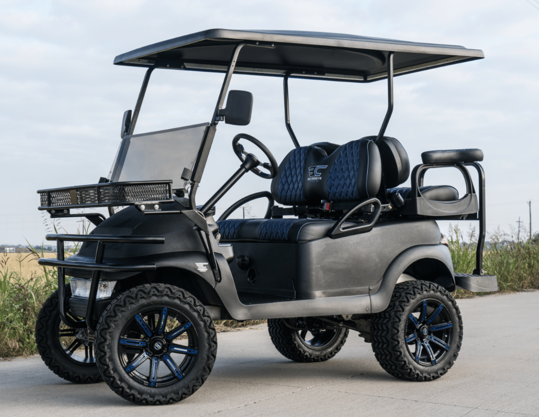 Black Kevlar Blue Carbon Golf Cart