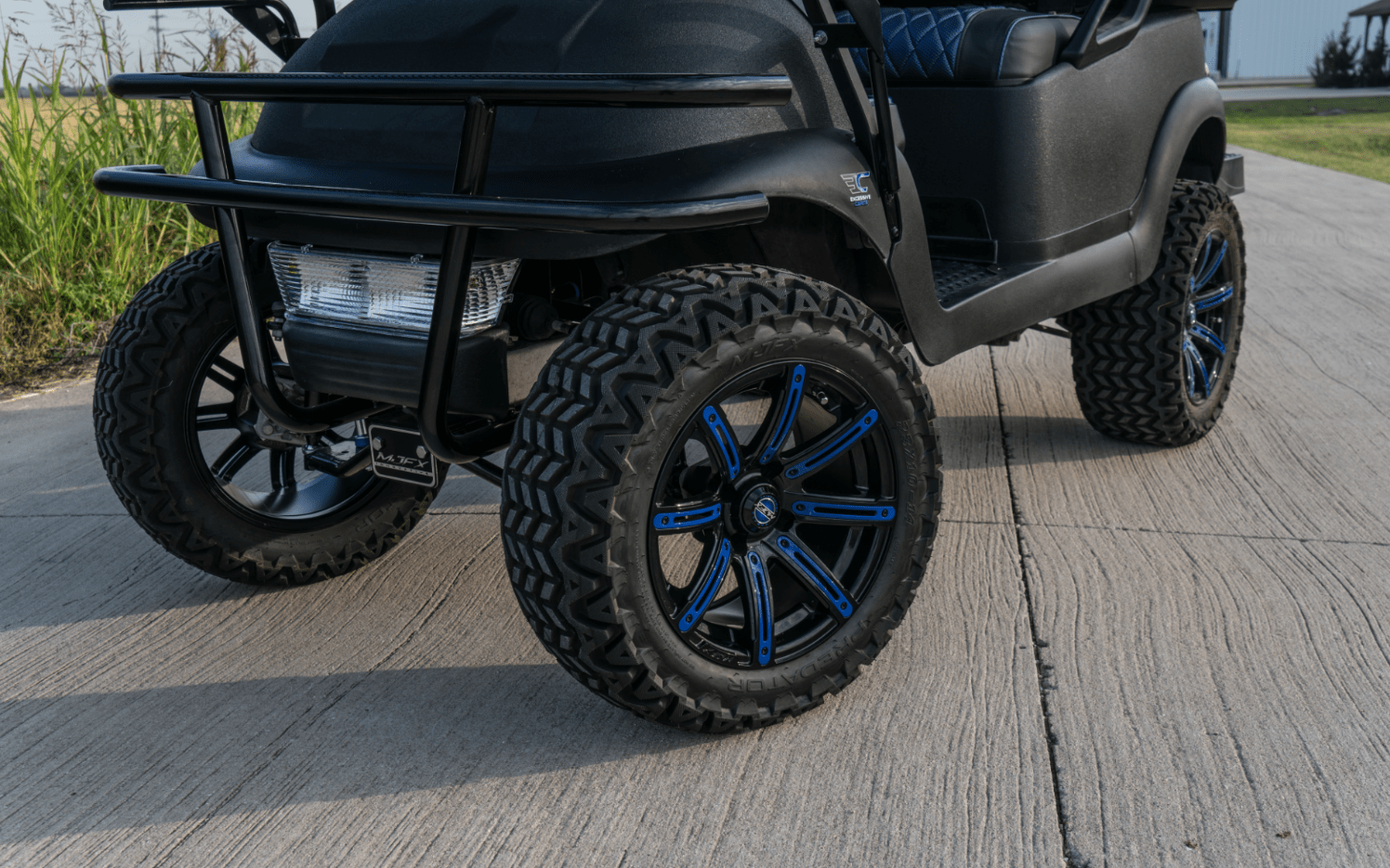 Black Kevlar Blue Carbon Golf Cart full
