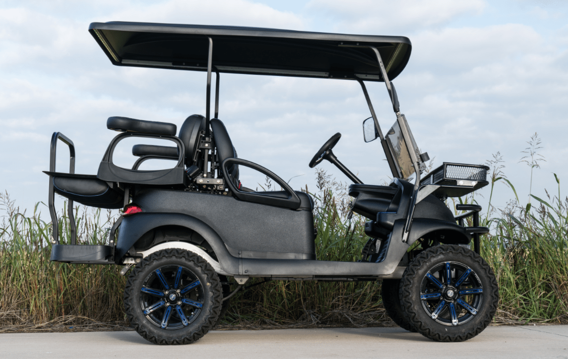 Black Gray Golf Cart Build on black trailer, black tv, black toy hauler, black bus,