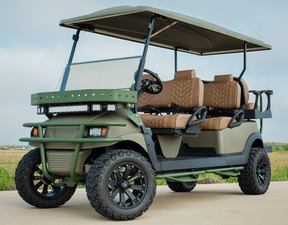 Green Brown Six Seater Golf Cart