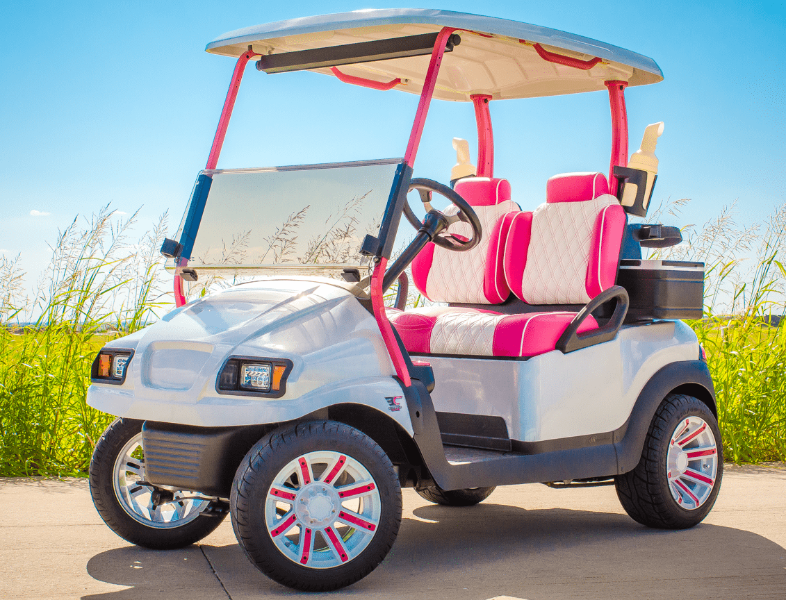Pink For The Course Golf Cart