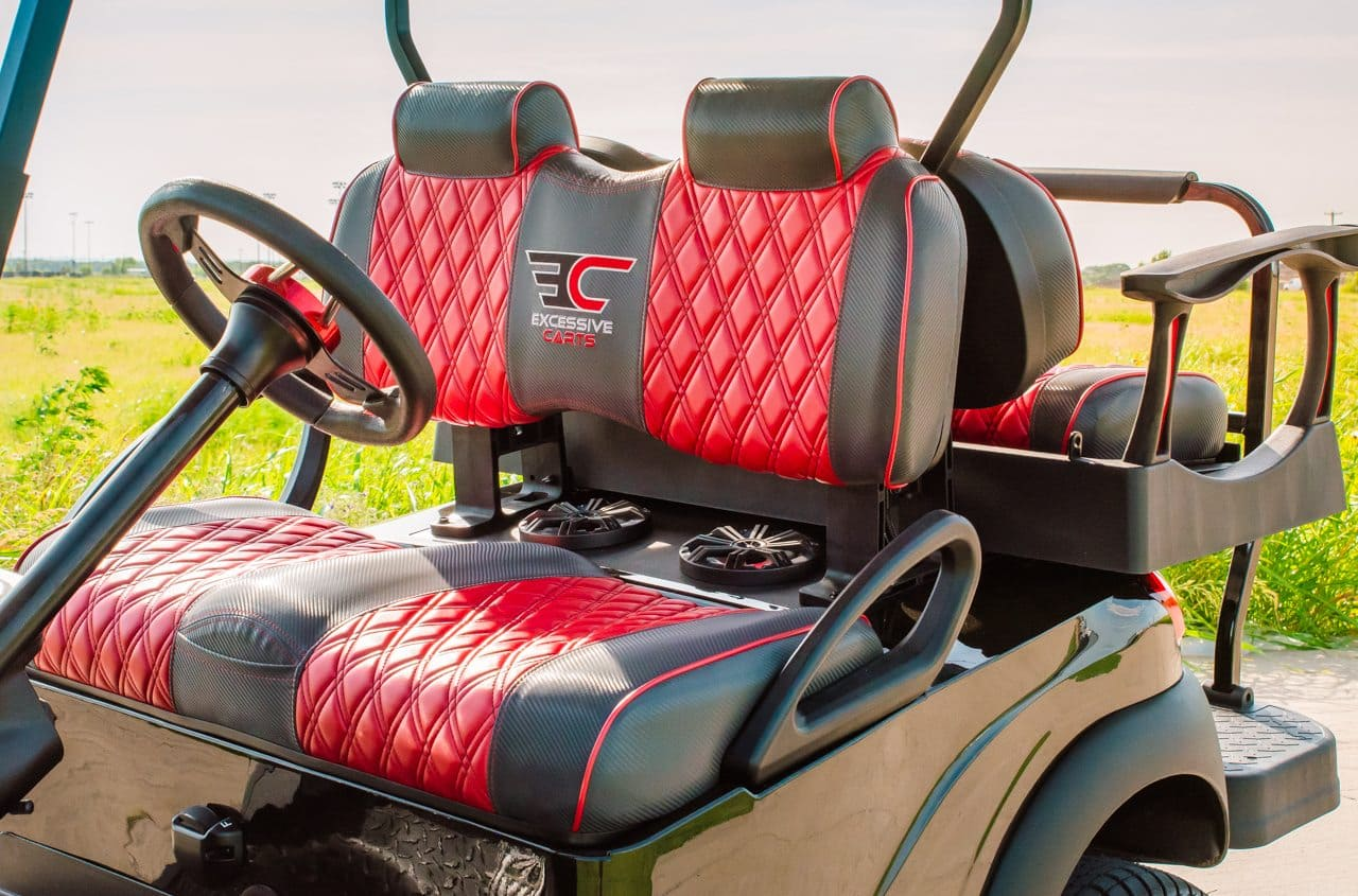 Red and Black Solar Golf Cart full